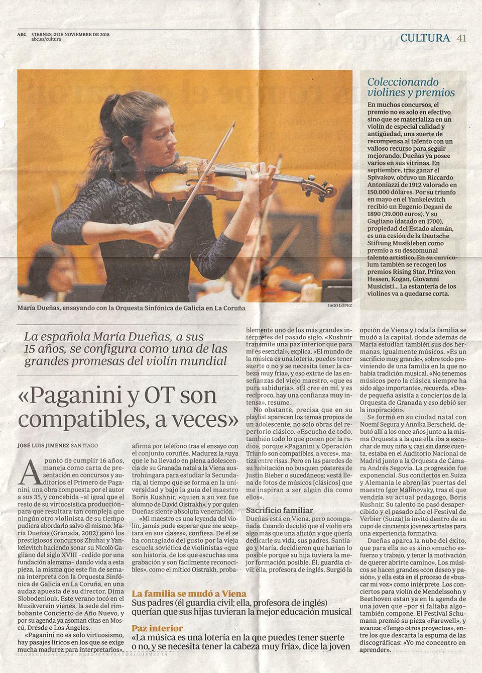 María Dueñas ensayo con la Orquesta Sinfónica de Galicia
