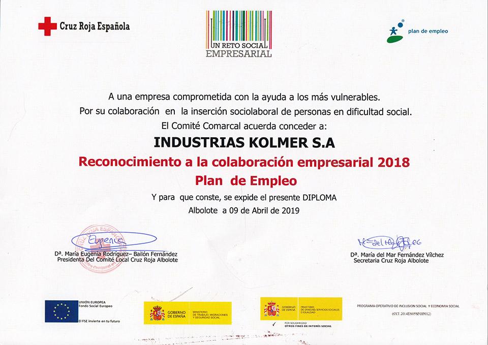 Reconocimiento a Industrias Kolmer por su colaboración en la inserción socialaboral de personas con dificultad social